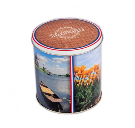 Tin with stroopwafels Netherlands theme (8 pieces, 250g)